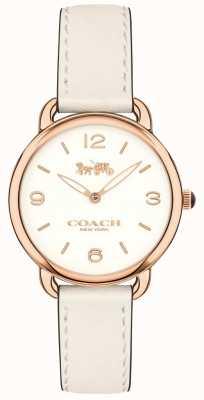 Coach レディースデラックススリムホワイトレザーストラップホワイトダイヤルウォッチ 14502790