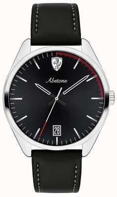 Scuderia Ferrari メンズabetoneブラックレザーストラップブラックダイヤル腕時計 0830501