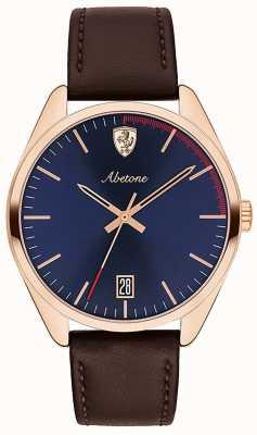Scuderia Ferrari メンズabetoneブラウンレザーストラップ腕時計ブルーダイヤル 0830500