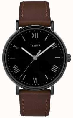 Timex Mens southview 41mmブラウンレザーストラップブラックダイヤル TW2R80300D7PF