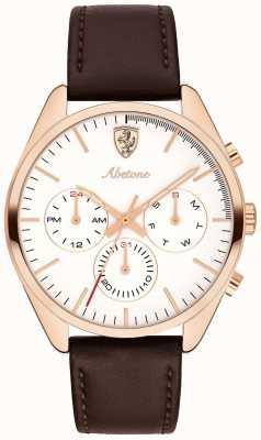 Scuderia Ferrari メンズabetone茶色の革ストラップ腕時計ホワイトダイヤル 0830504