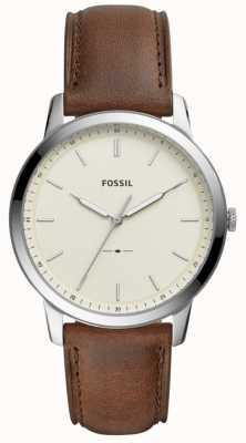 Fossil メンズミニマルブラウンレザーストラップウォッチ FS5439