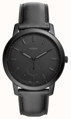 Fossil メンズミニマルブラックレザーストラップウォッチ FS5447