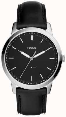 Fossil メンズミニマルブラックレザーストラップウォッチ FS5398