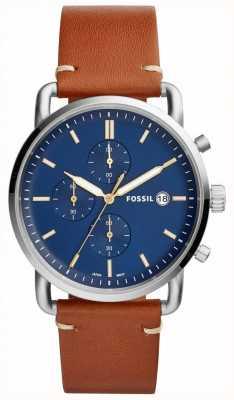 Fossil メンズ通勤腕時計ブルークロノグラフレザーストラップ FS5401