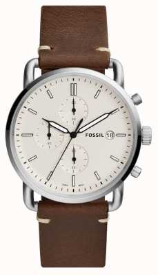 Fossil メンズ通勤腕時計ホワイトクロノグラフレザーストラップ FS5402