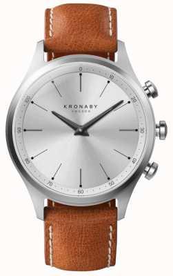 Kronaby 41ミリメートルセッケルシルバーダイヤルブラウンレザーストラップ A1000-3125