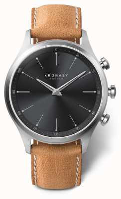 Kronaby 41mmセケルブラックダイヤルブラウンレザーストラップA1000-3123 S3123/1