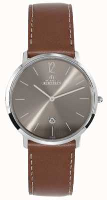 Michel Herbelin メンズステンレススチールイコンダークグレーダイヤルタンストラップ 19515/27GO