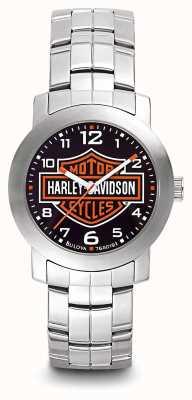 Harley Davidson ステンレススチールブレスレットのメンズロゴプリントダイヤル 76A019