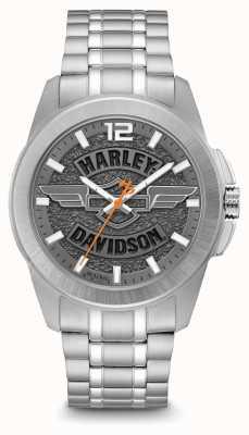 Harley Davidson ロゴプリントダイヤルシルバーステンレススチールケースとブレスレット 76A157