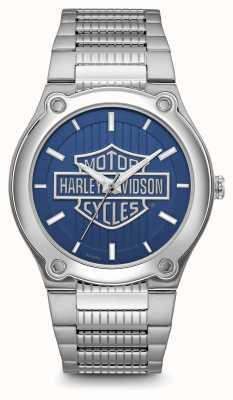 Harley Davidson ロゴプリントブルーダイヤルステンレススチールブレスレット 76A159
