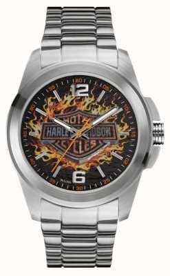 Harley Davidson 炎のロゴプリントダイヤルステンレスケース&ブレスレット 76A147