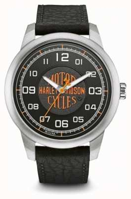 Harley Davidson オレンジのロゴブラックダイヤルステンレススティールケースブラックレザー 76A155