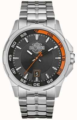 Harley Davidson ダークグレーダイヤルデイト表示ステンレススチールブレスレット 76B170