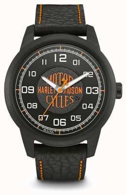 Harley Davidson ロゴプリントブラックダイヤルipメッキケースブラックレザーストラップ 78A116