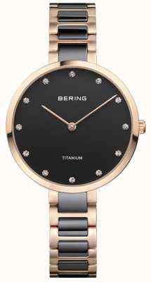 Bering ローズゴールド&ブラックチタンクリスタルセットダイヤ 11334-762
