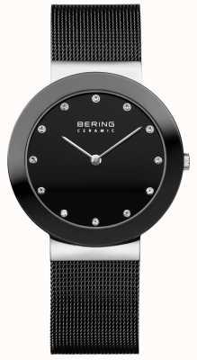 Bering クリスタルセットダイヤモンドセラミックベゼルブラックメッシュブレスレット 11435-102