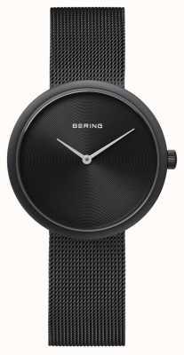Bering クラシックマットブラックブラックメッシュストラップ 14333-222