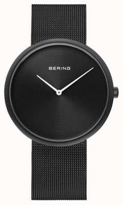 Bering クラシックマットブラックダイヤルブラックメッシュストラップ 14339-222