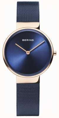 Bering 女性のクラシックブルーダイヤルローズゴールドケースブルーipメッキメッシュ 14531-367