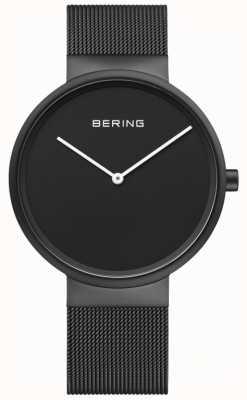 Bering メンズクラシックブラックダイヤルブラックipコーティングメッシュブレスレット 14539-122