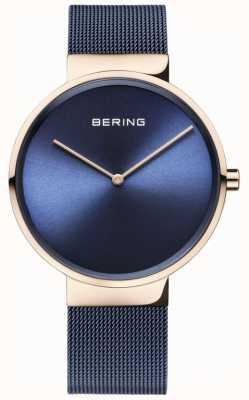 Bering クラシックブルーダイヤルは、ゴールドケースのブルーIPメッキメッシュストラップ 14539-367