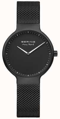 Bering マックスレネブラックマットダイヤルとブラックIPメッキメッシュストラップ 15531-123