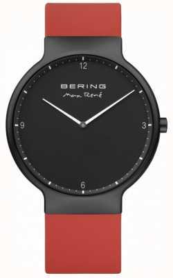 Bering マックスレネブラックipメッキケースレッドシリコンストラップ 15540-523