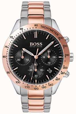 Hugo Boss 男性の才能のあるブラックダイヤルのバラは、金と銀の2つのトーンのブレスレット 1513584