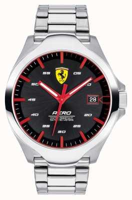 Scuderia Ferrari メンズエアロデイトディスプレイブラックダイヤルステンレススチールブレスレット 0830507