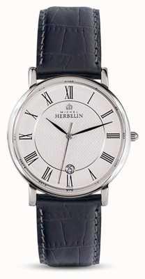 Michel Herbelin メンズクラシックブラックレザーストラップホワイトダイヤル 12248/08