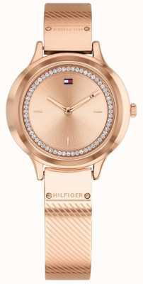 Tommy Hilfiger レディースオリビアは、金メッキの時計をローズ 1781911