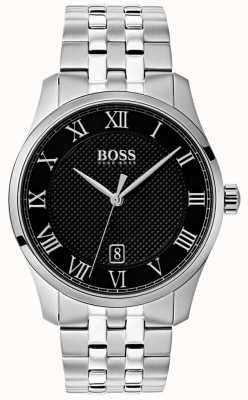 Boss メンズマスターステンレススチールブラックダイヤルウォッチ 1513588