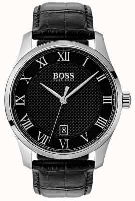 Boss メンズマスターブラックダイヤルブラックレザーウォッチ 1513585
