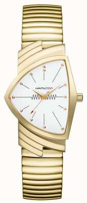 Hamilton ベンチュラフレックスクオーツホワイトダイヤル金メッキステンレス H24301111
