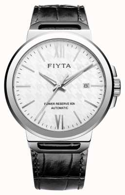 FIYTA ソロ自動巻きブラックレザーホワイトダイヤルサファイア GA852000.WWB