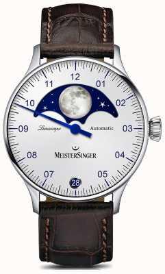 MeisterSinger パンゲアルナスコープシルバーダイヤルブラウンレザーストラップ LS901