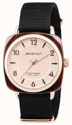 Briston クラブメーカのシックなブラックストラップゴールドトーンダイヤル 18536.PRA.T.6.NB