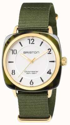 Briston クラブマスターのシックなグリーンストラップホワイトダイヤル 18536.PYA.TG.2.NGA