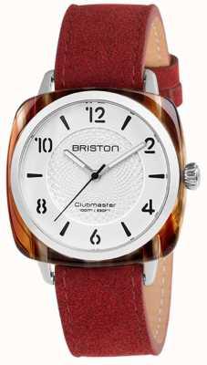 Briston クラブマスターのシックな赤いストラップのホワイトダイヤル 18536.SA.RE.2G.LNR
