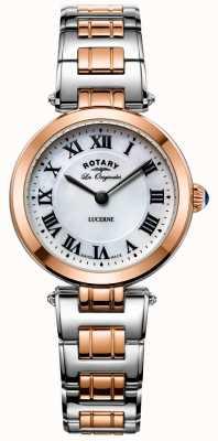 Rotary レディース2トーンルツェルン腕時計ホワイトダイヤル LB90187/41
