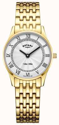 Rotary レディースウルトラスリムゴールドトーンブレスレットホワイトダイヤル LB08303/01