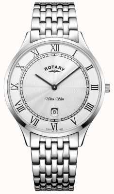 Rotary メンズウルトラスリムホワイトダイヤルステンレススチール GB08300/01