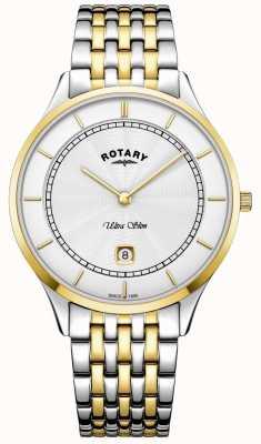 Rotary メンズウルトラスリムホワイトダイヤルゴールドケースステンレススチール GB08301/02