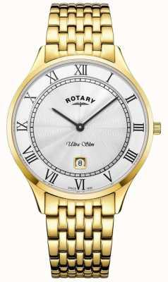 Rotary メンズ超薄型ホワイトダイヤルゴールドトーンステンレススチール GB08303/01