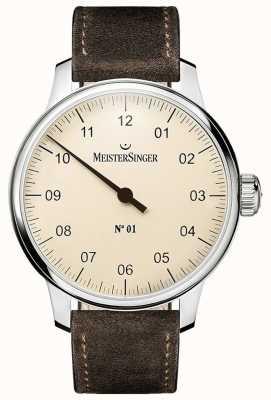 MeisterSinger No.1 40ミリ巻き腕時計スエード・ブラウン・ストラップ DM303