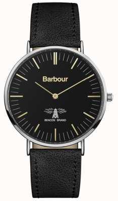Barbour メンズハートリーブラックレザーストラップブラックダイヤル BB055BKBK