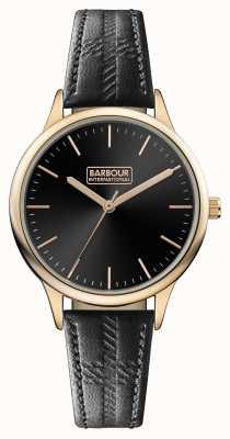 Barbour メンズエンブレムブラックレザーストラップブラックダイヤル BB058RSBK