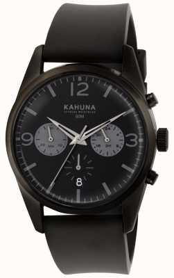 Kahuna メンズブラッククロノグラフダイヤルブラックラバーストラップ KCS-0010G